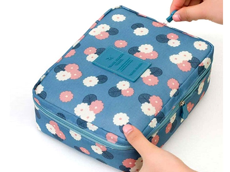 Floral Printed Cosmetics Bag - Blue in Pakistan
