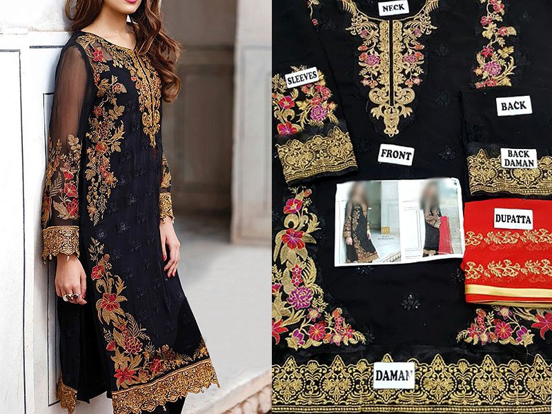 Embroidered Black Chiffon Suit