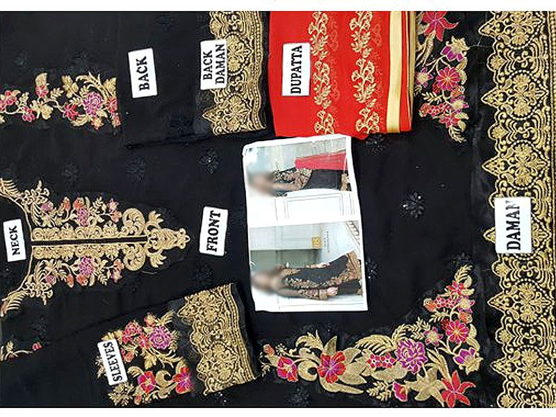 Embroidered Black Chiffon Suit in Pakistan