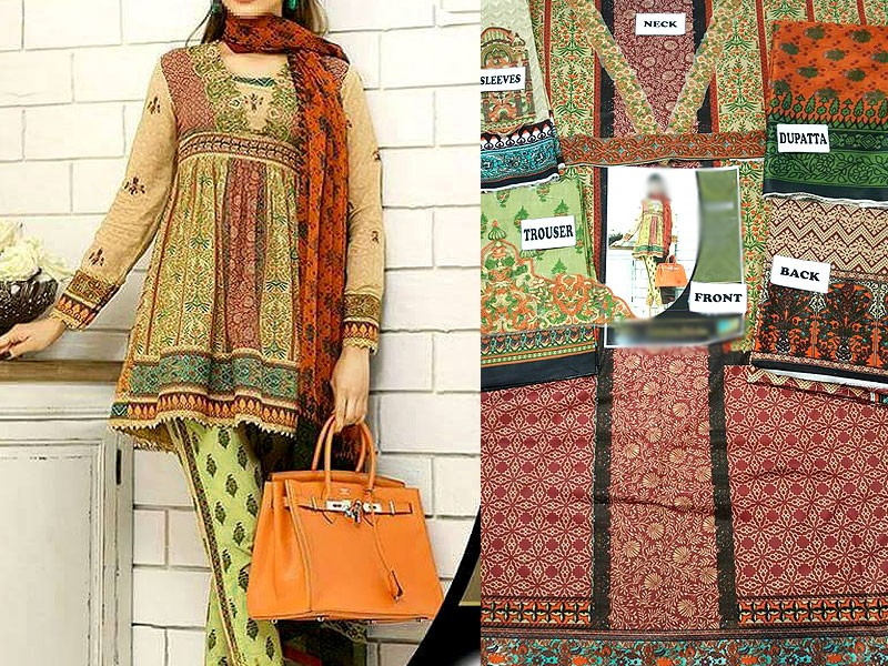 Embroidered Lawn Suit with Silk Dupatta