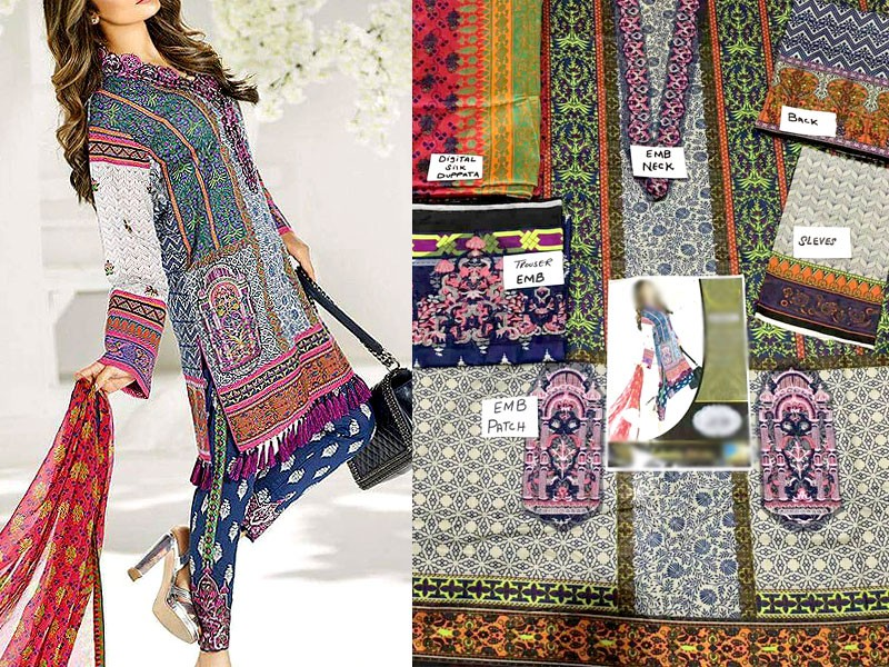 Embroidered Lawn Suit with Silk Dupatta Price in Pakistan