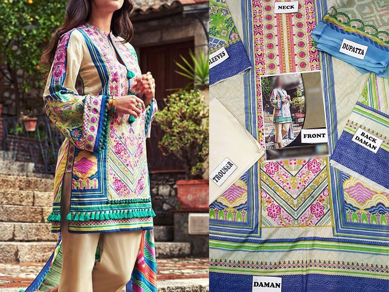 Embroidered Lawn Dress with Lawn Net Dupatta