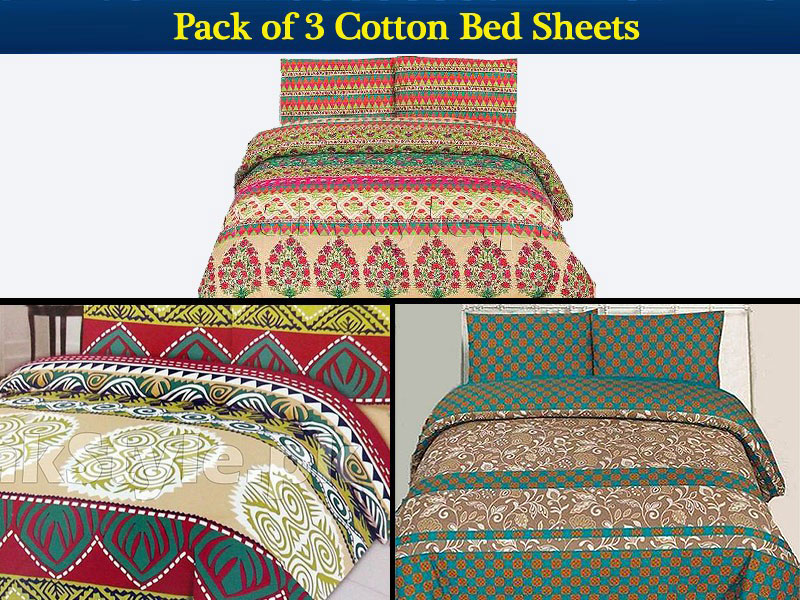 Pack of 3 Bed Sheets of Your Choice Price in Pakistan