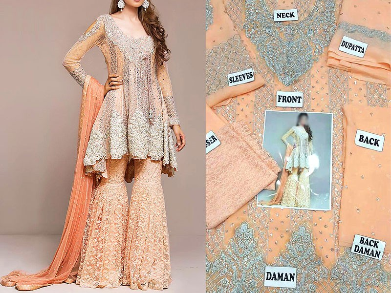 Embroidered Chiffon Bridal Dress Price In Pakistan