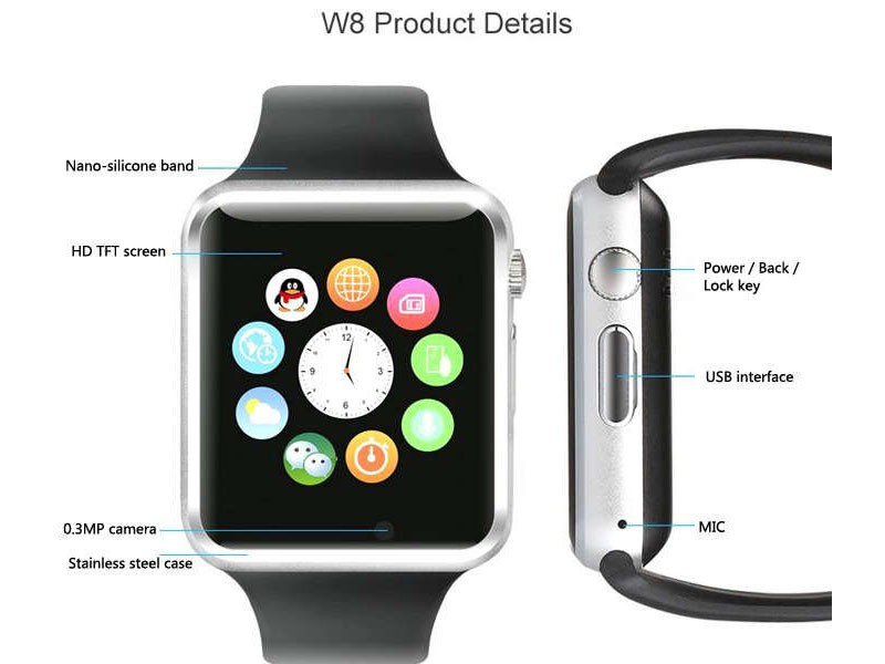 W08 GSM & Bluetooth Smartwatch