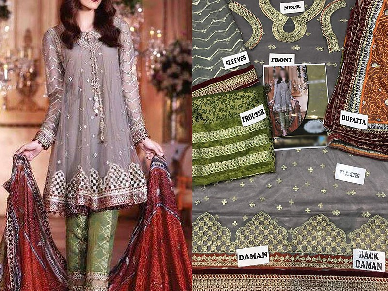 Embroidered Net Dress with Silk Dupatta