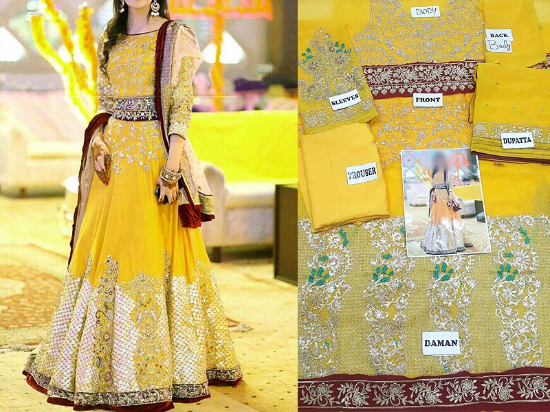 Embroidered Chiffon Yellow Maxi Dress