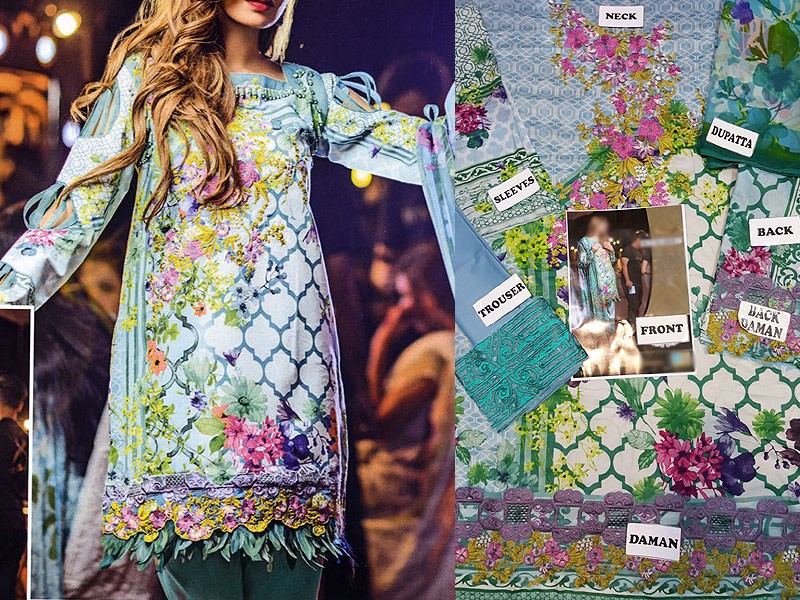 Embroidered Lawn Suit with Net Dupatta