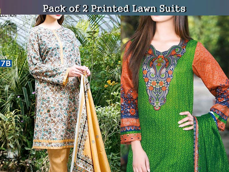 Pack of 2 Star Printed Lawn Suits of Your Choice Price in Pakistan