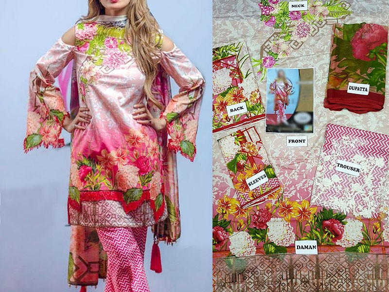 Embroidered Lawn Suit with Printed Chiffon Dupatta