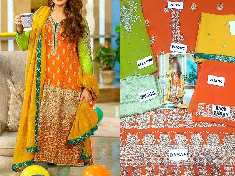 Mehndi Party Dress Code : Embroidered chiffon mehndi dress price in pakistan m check prices specs reviews