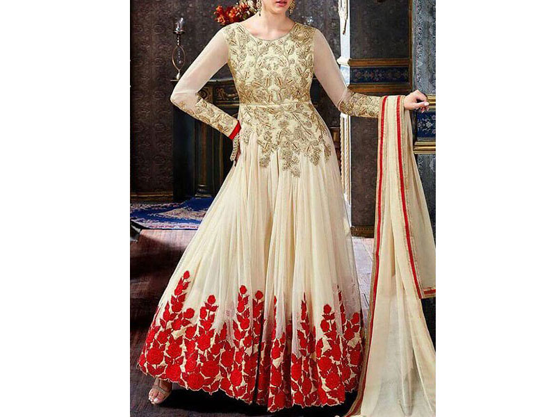 Indian Embroidered Chiffon Frock
