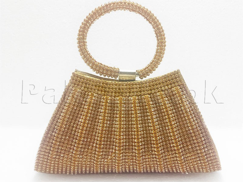 Luxury Ball Shaped Diamante Bridal Clutch - Golden Price in Pakistan