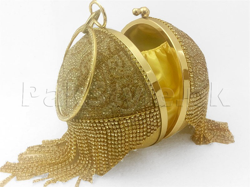 Luxury Ball Shaped Diamante Bridal Clutch - Golden