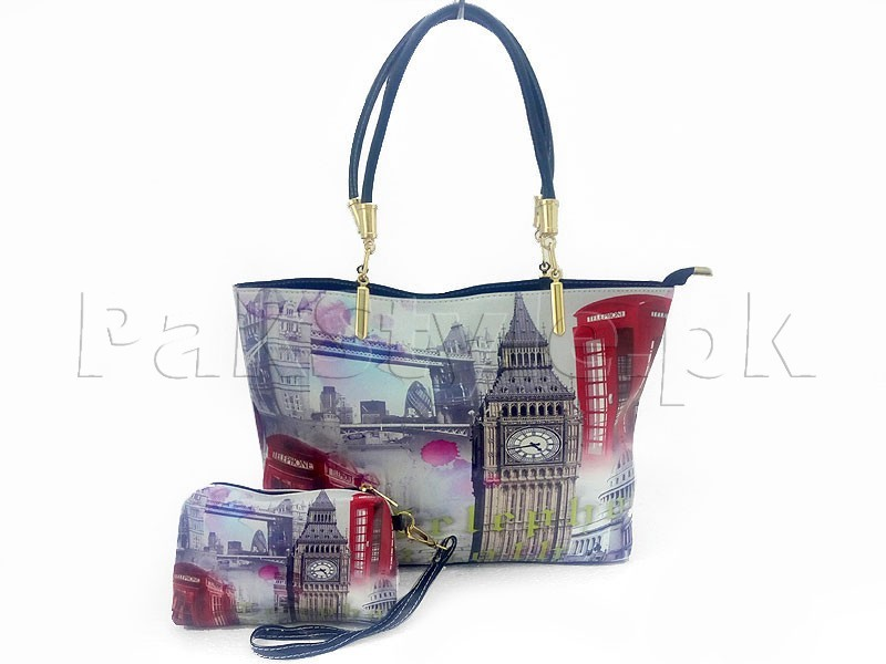 Big Ben Clock Tower Handbag with Mini Pouch