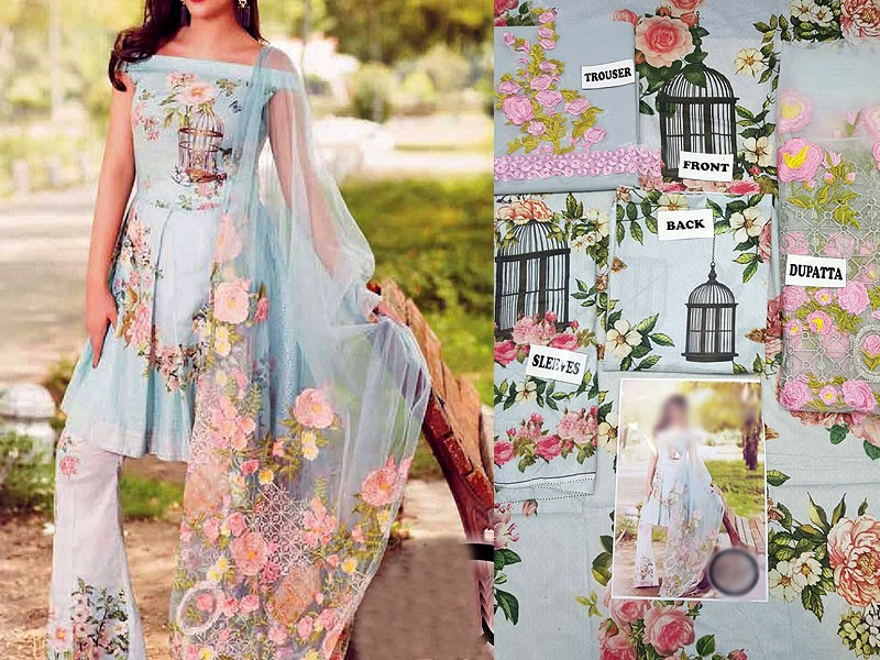 Digital Embroidered Lawn Suit with Net Dupatta Price in Pakistan