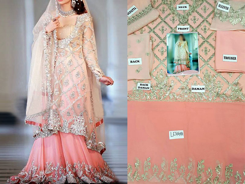 Embroidered Chiffon Bridal Lehenga