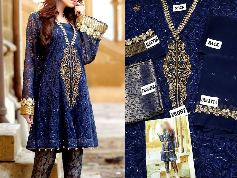 Navy Blue Chiffon Dress with Jamawar Trouser Price in Pakistan