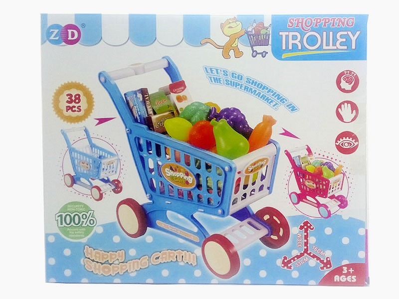 Kids Shopping Trolley Toy 38-Pieces