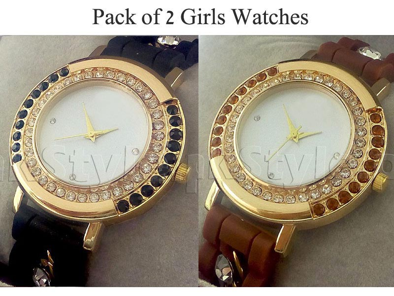 Pack of 2 Girls Watches Silicone Strap