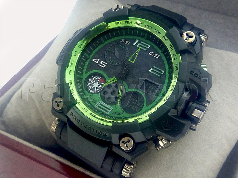 Men's Heavy Duty Case Sports Watch - Green