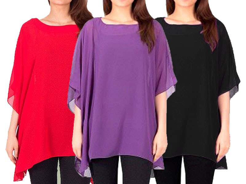 Pack of 3 Stylish Chiffon Tops Price in Pakistan