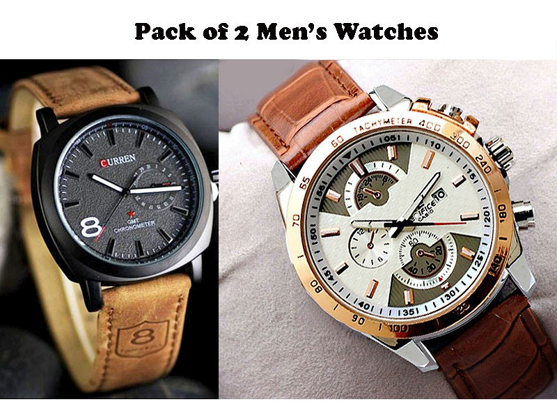 Curren & Casio Watches Combo Pack Price in Pakistan