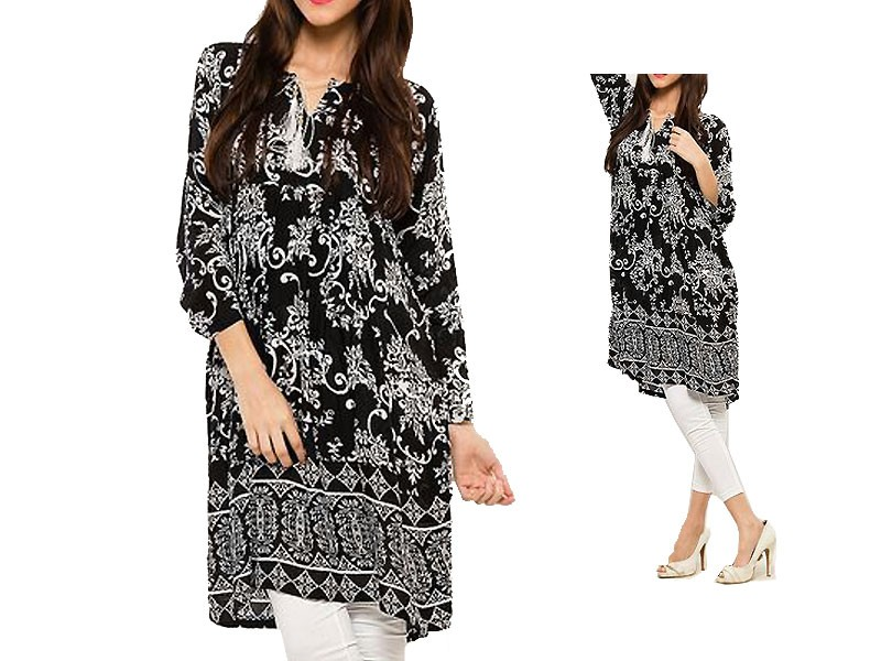Boski Linen Black Kurti with White Tight