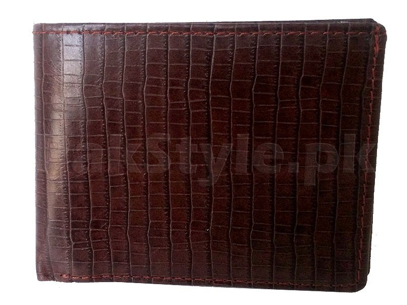 Croc Embossed Leather Wallet - Brown