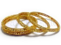 4 Gold Plated Kada Bangles Set in Pakistan