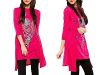 Shrug Style Printed Top - Pink in Pakistan
