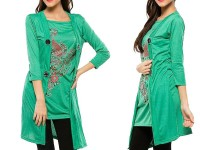 Shrug Style Printed Top - Green in Pakistan