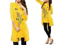Shrug Style Printed Top - Yellow in Pakistan