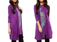 Shrug Style Printed Top - Purple in Pakistan