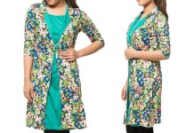 Shrug Style Floral Top - Sea Green in Pakistan