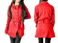 Women's Fleece Winter Coat - Red in Pakistan