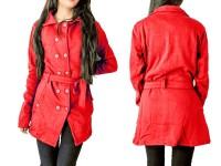 Women's Fleece Winter Coat - Red in Pakistan