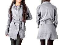 Women's Fleece Winter Coat - Grey in Pakistan