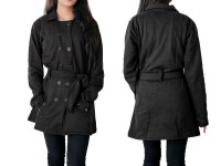 Women's Fleece Winter Coat - Black in Pakistan