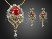 AD Stone Jewelry Pendant Set in Pakistan