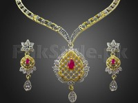Elegant AD Stone Jewelry Pendant Set in Pakistan