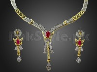Beautiful AD Stone Jewelry Pendant Set in Pakistan