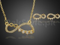 Effie Queen Sign Jewelry Set - Golden in Pakistan