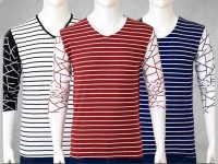 Pack of 3 Yarn Dyed Full Sleeves T-Shirts Price in Pakistan