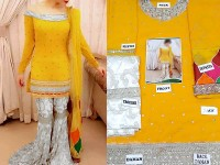 Embroidered Chiffon Yellow Mehndi Dress in Pakistan