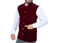Men's Velvet Waistcoat - Maroon in Pakistan