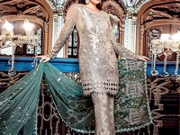 Designer Embroidered Net Dress 2017 Design in Pakistan
