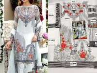Embroidered White Chiffon Dress in Pakistan