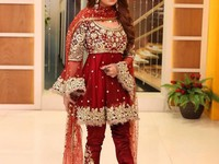 Red Embroidered Chiffon Bridal Dress in Pakistan