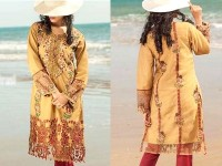 2 Pieces Unstitched Embroidered Net Kurti in Pakistan